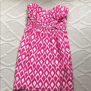Shoshanna pink and white patterned party dress